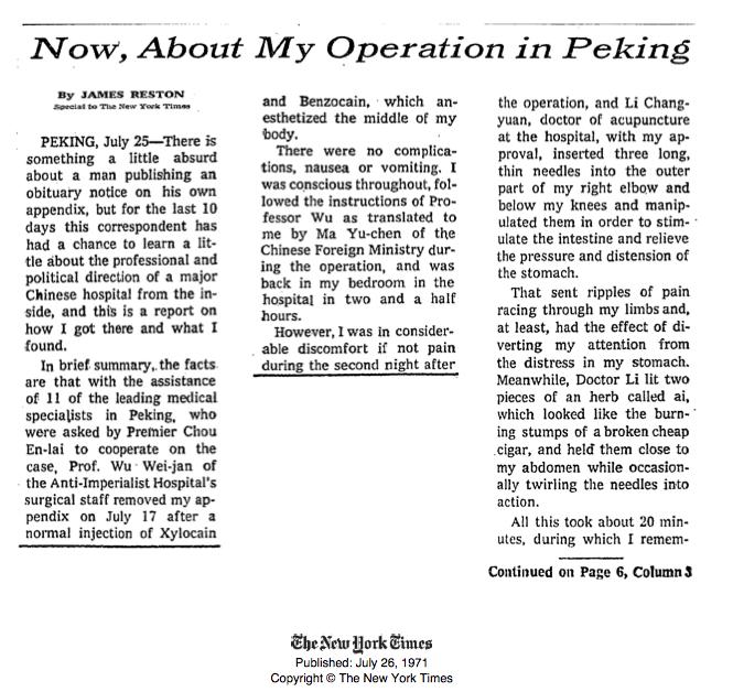مقاله نیویورک تایمز در مورد طب سوزنی